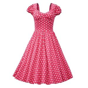 Retro Style Hot Pink with White Polka Dots Dress